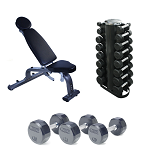 Dumbbell Weight Set with Rack and FID Bench, 3-25 lb. Pairs (Commercial Gym Quality)