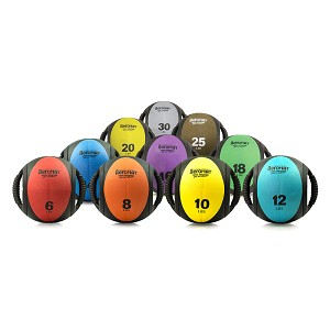 Medicine Ball with Handles Club Set 6, 8, 10, 12, 14, 16, 18, 20, 25, 30 lbs. (Professional Gym Quality) by AeroMat