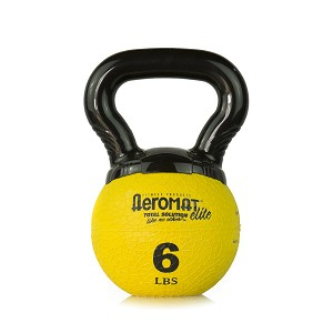 Elite Mini Kettlebell Ball, 6 lb. - Yellow (Professional Gym Quality) by AeroMat