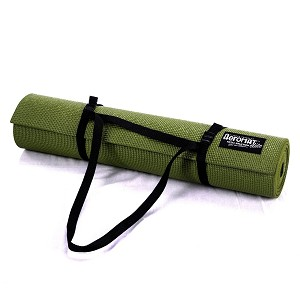 Iris Green Yoga / Pilates Sticky Mat w/ Carry Strap (Professional Gym Quality) by AeroMat