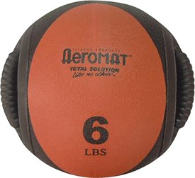 Medicine Ball with Handles - 6 lb. Red (Professional Gym Quality) by AeroMat