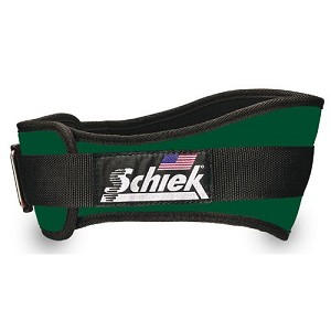 Schiek Gym Weight Lifting Belt - Nylon, 4 3/4 in. Back Width - F. Green Large