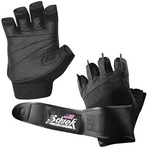 Schiek Men's Platinum Gel Padded Workout Gloves w/ Wrist Wraps - Large