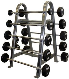Troy Urethane Barbells w/ Straight Handle 20lbs - 110lbs Set on Horizontal Barbell Rack (Commercial Gym Quality) by Troy Barbell