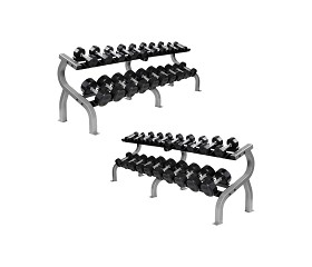 Troy 5-100 lbs. (20 Pairs) Rubber Dumbbell Weight Set w/ 2 Racks - Flat 12-Sided Head (Commercial Gym Quality) by Troy Barbell