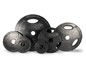 455 lb. Olympic Weight Plate Set, Black Rubber Grip (Commercial Gym Quality) by Troy Barbell