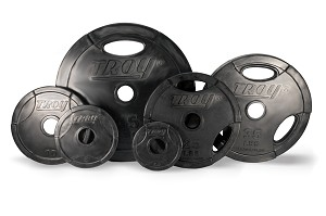 255 lb. Olympic Weight Plate Set, Black Rubber Grip (Commercial Gym Quality) by Troy Barbell