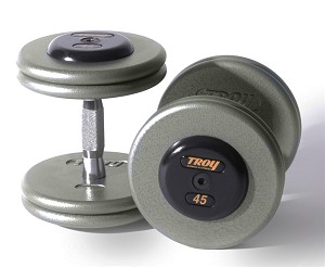 Troy 110 lbs. Pair Dumbbell Weight, Round Gray Hammerstone Plates w/ Rubber End Cap, Pro-Style (Commercial Gym Quality)