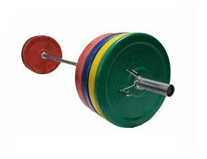 Colored Rubber Bumper Plate Weight Set w/ Barbell and Rack (Commercial Gym Quality) by VTX