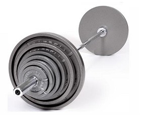 300 Lbs. Gray Olympic Weight Plate Set W/ Chrome Bar (Home Gym Use) by USA Sports