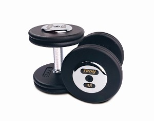 Troy 65 lbs. Pair Dumbbell Weight, Round Black Plates w/ Chrome End Cap, Pro-Style (Commercial Gym Quality) by Troy Barbell