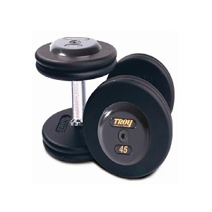 Troy 125 lbs. Pair Dumbbell Weight, Round Black Plates w/ Rubber End Cap, Pro-Style (Commercial Gym Quality) by Troy Barbell