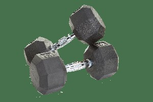 5 lb. Pair Rubber Dumbbell Weights, Flat 8-Sided Head (Heavy Duty Construction) by VTX