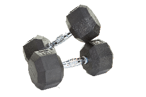 75 lb. Pair Rubber Dumbbell Weights, Flat 8-Sided Head (Heavy Duty Construction) by VTX