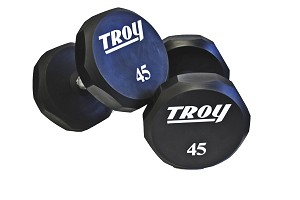 Troy Urethane Dumbbell Weight Set 5 - 50 lb. Pairs - Flat 12-Sided Head (Commercial Gym Quality) by Troy Barbell