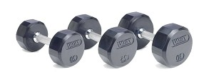 Troy 75 lb. Pair Rubber Dumbbell Weight, Flat 12-Sided Head (Commercial Gym Quality) by Troy Barbell