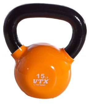 15 Lbs. Vinyl Dipped Kettle Bell Weight- Orange (Professional Gym Quality) by VTX