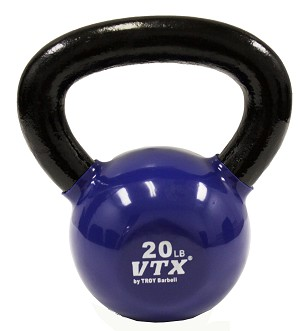 20 Lbs. Vinyl Dipped Kettle Bell Weight- Blue (Professional Gym Quality) by VTX