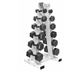 5-30 lb. Pairs, Dumbbell Weight Set with Rack, Hex Cast Iron Head w/ A- Frame Rack (for Home Gym) by USA Sports