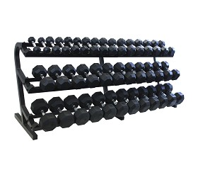 5-100 lb. Pairs, Dumbbell Weight Set with Rack, Rubber Flat 8-Sided Head w/ 3 Tier Rail Rack (Heavy Duty Construction) by VTX