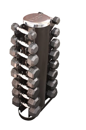 3-25 lb. Pairs, Dumbbell Weight Set with Rack, Rubber Flat 8-Sided Head w/ 2 Sided Vert Rack (Heavy Duty Construction) by VTX
