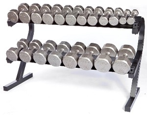 5-50 lb. Pairs, Dumbbell Weight Set with Rack, Cast Iron Flat 12-Sided Head w/ Rail Rack (Heavy Duty Construction) by VTX