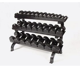 Troy Dumbbell Weight Set with Rack,5-75 lb. Pairs - Rubber Flat 12-Sided Head w/ 3 Tier Shelf Rack (Commercial Gym Quality)