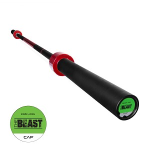 The Beast Olympic Barbell Weight, Cherry Red Bar (Professional Gym Quality) by CAP Barbell